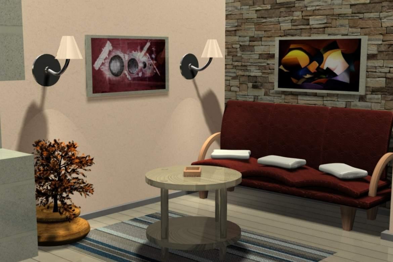 Salon z płytkami kamiennymi na ścianie